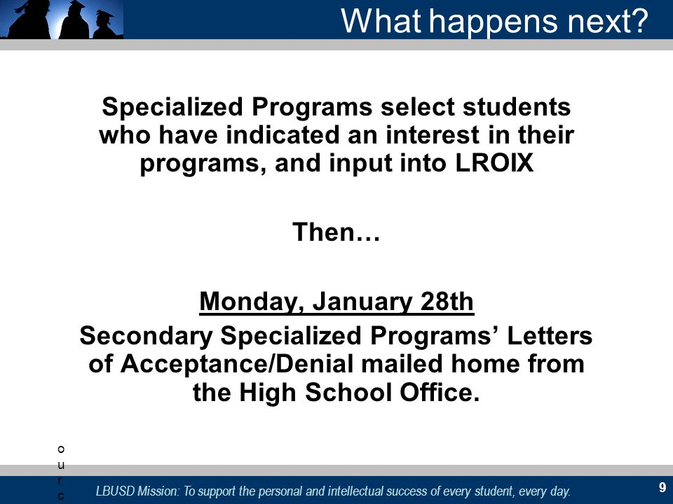 What happens next Specialized Programs select students who have indicated an interest in their programs, and input into LROIX.