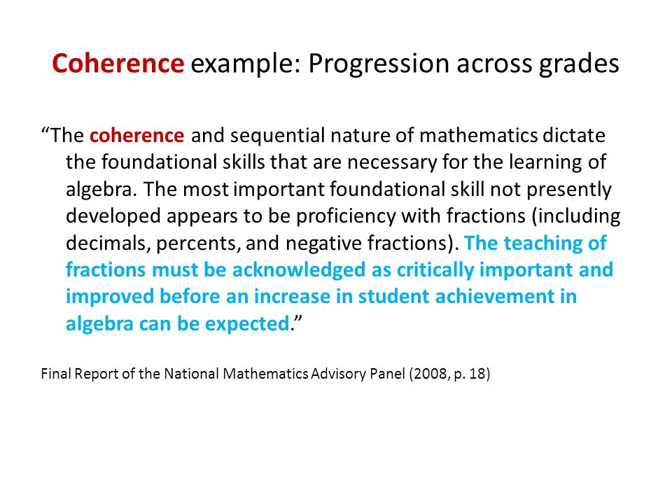 Coherence example: Progression across grades