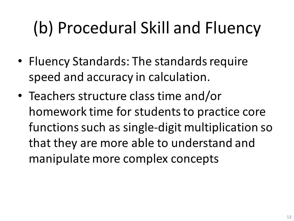 (b) Procedural Skill and Fluency