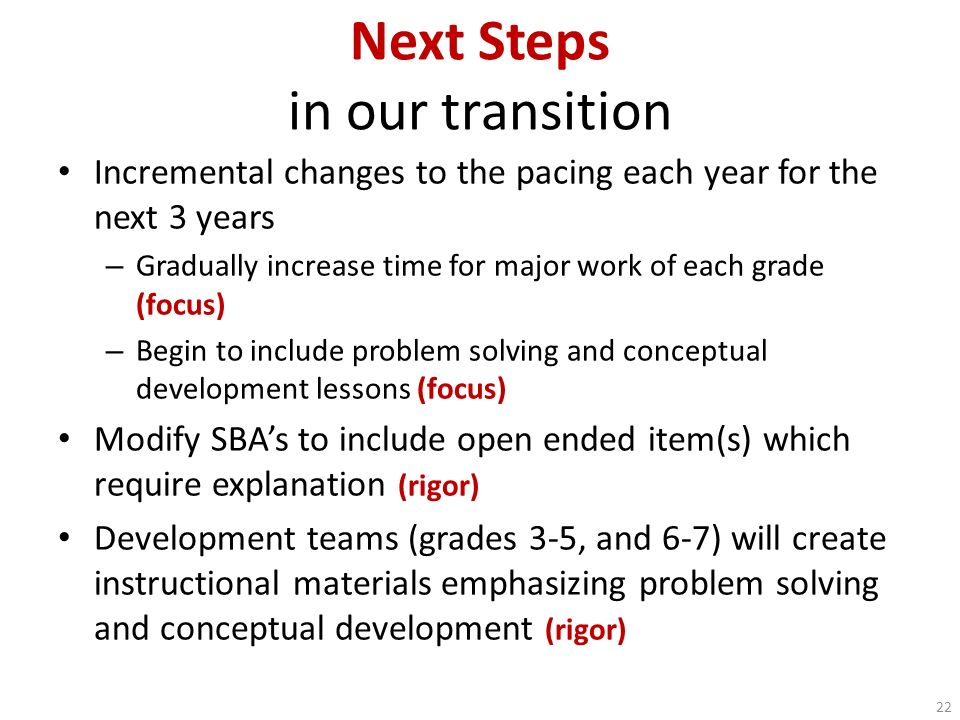 Next Steps in our transition