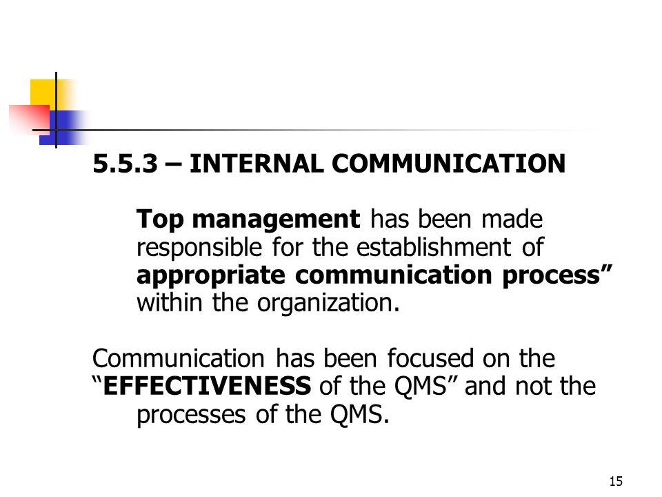 5.5.3 – INTERNAL COMMUNICATION