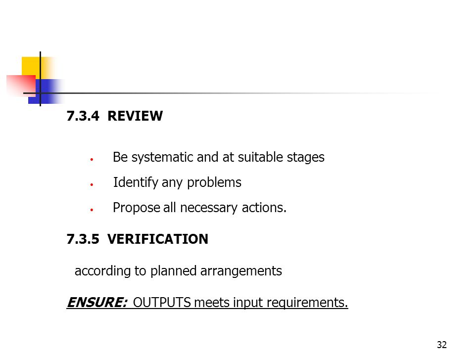 7.3.4 REVIEW Be systematic and at suitable stages. Identify any problems. Propose all necessary actions.