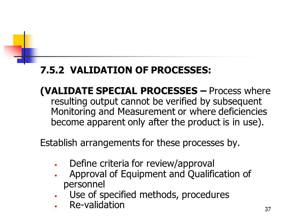 7.5.2 VALIDATION OF PROCESSES: