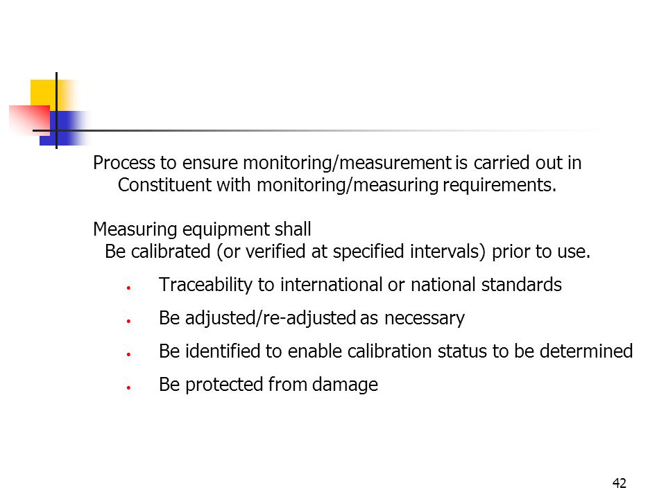 Process to ensure monitoring/measurement is carried out in Constituent with monitoring/measuring requirements.