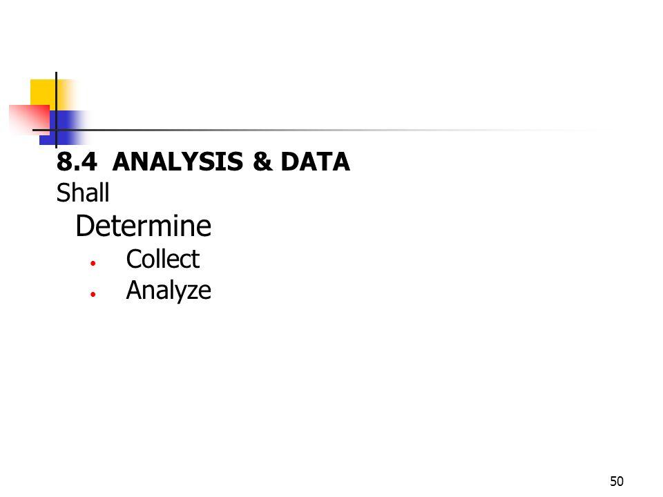 8.4 ANALYSIS & DATA Shall Determine Collect Analyze