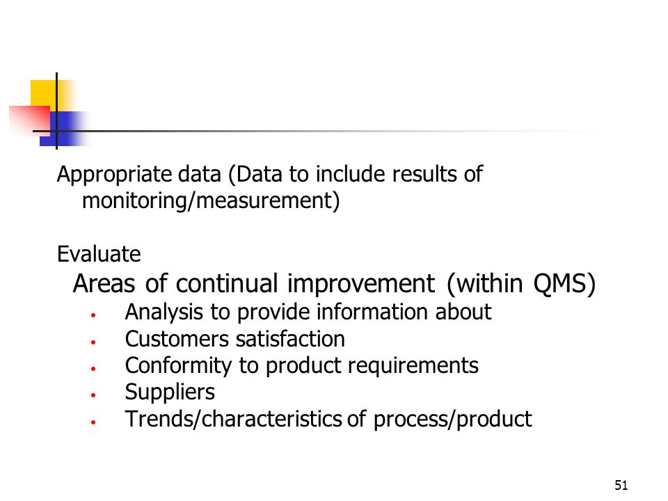 Areas of continual improvement (within QMS)