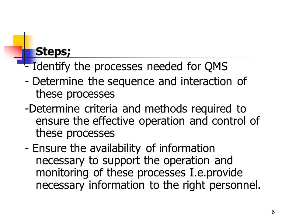 Steps; - Identify the processes needed for QMS. - Determine the sequence and interaction of these processes.