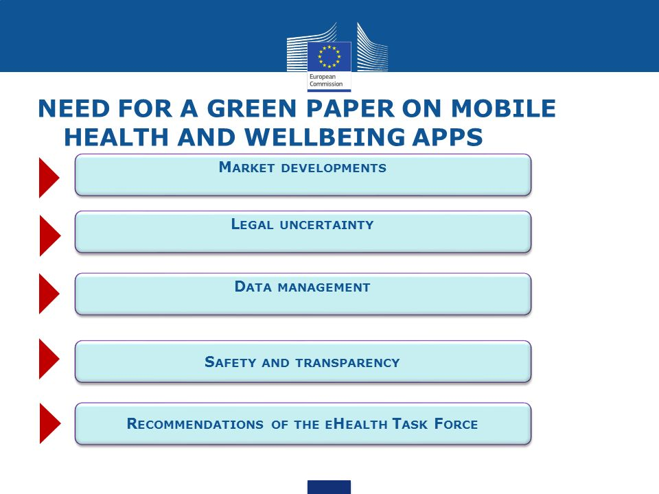 Need for A Green Paper on mobile health and wellbeing apps