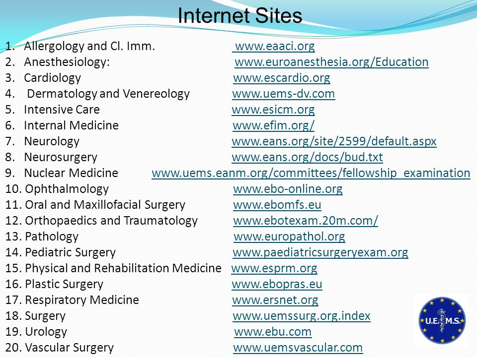 Internet Sites Allergology and Cl. Imm. www.eaaci.org