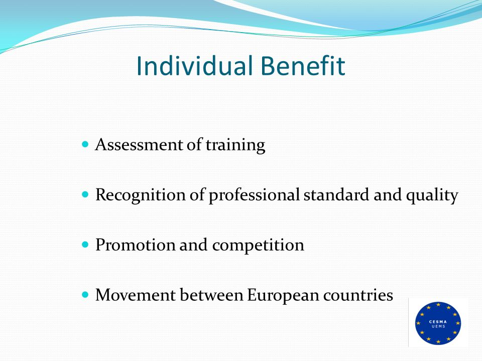 Individual Benefit Assessment of training