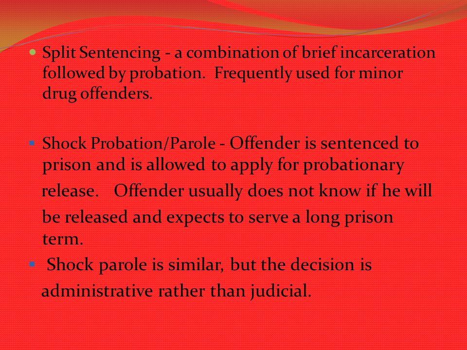 intermediate sanctions and shock probation essay Free essays from bartleby   parole and probation are what gives inmates in  today's prison system the  essay on intermediate sanctions and shock  probation.