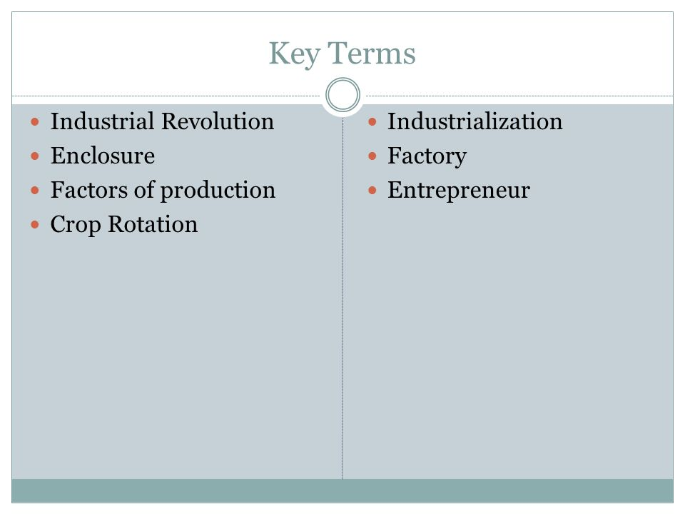 Key Terms Industrial Revolution Enclosure Factors of production