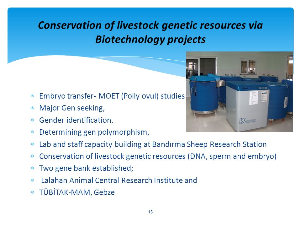 Conservation of livestock genetic resources via Biotechnology projects
