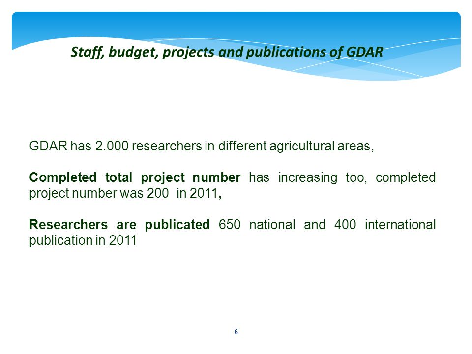 Staff, budget, projects and publications of GDAR
