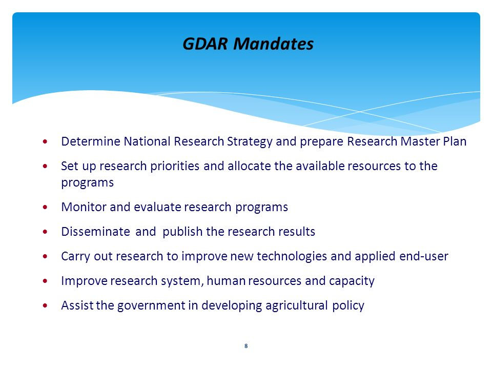 GDAR Mandates Determine National Research Strategy and prepare Research Master Plan.