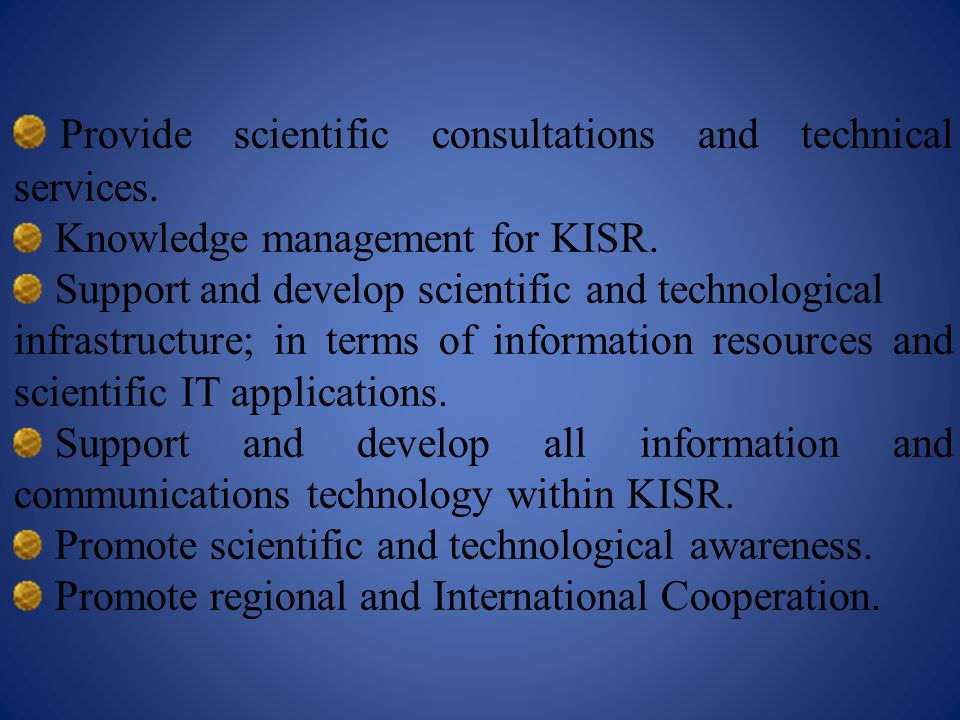 Provide scientific consultations and technical services.