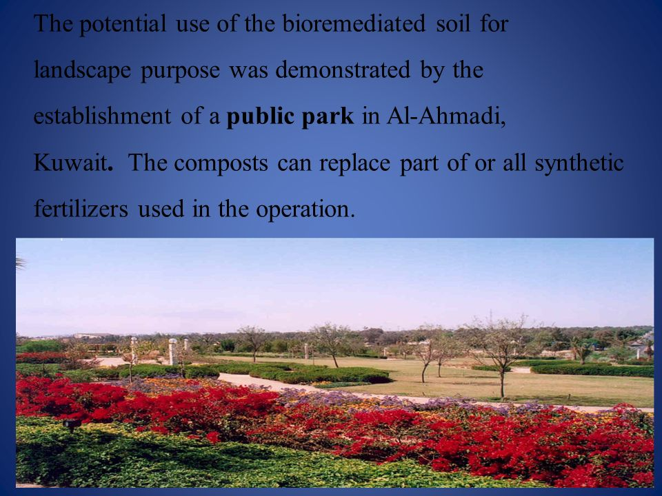 The potential use of the bioremediated soil for