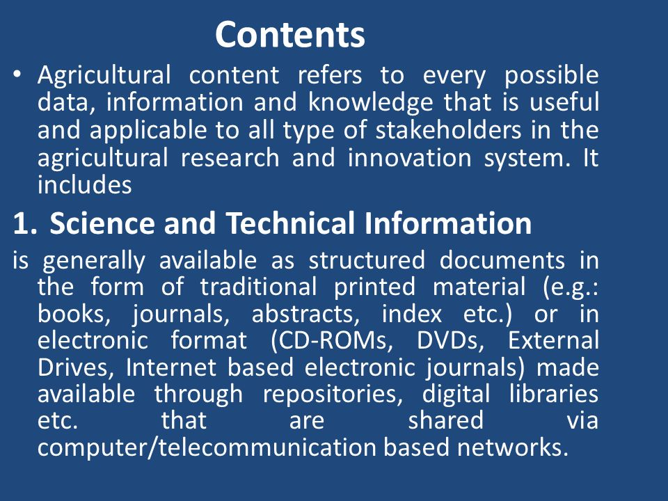 Contents Science and Technical Information