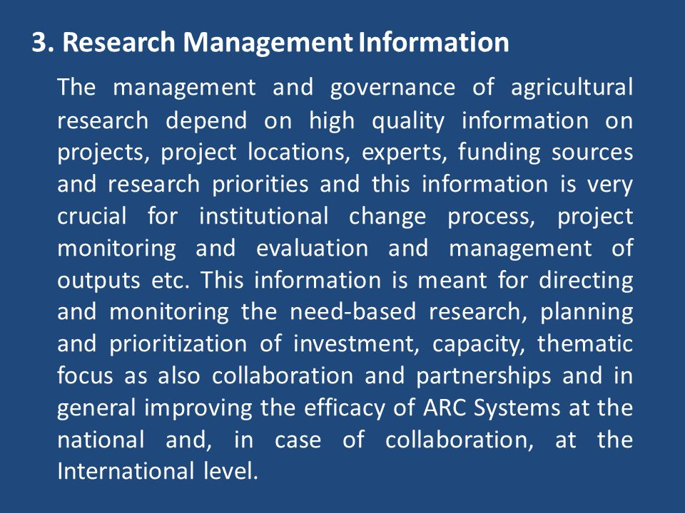 3. Research Management Information