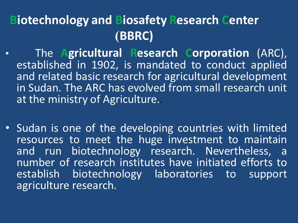 Biotechnology and Biosafety Research Center BBRC))