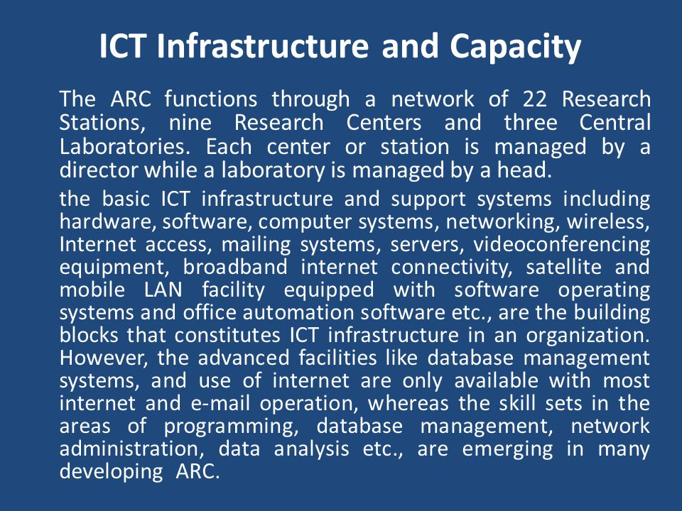 ICT Infrastructure and Capacity