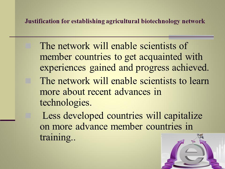 Justification for establishing agricultural biotechnology network