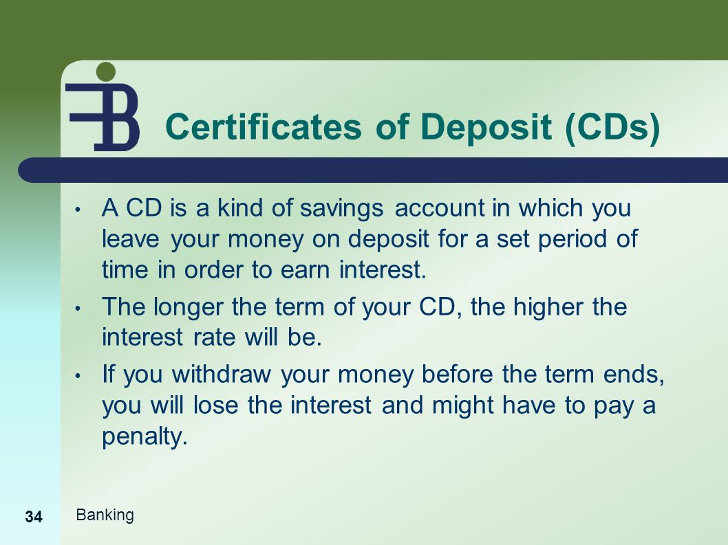 Banking basics ppt video online download certificates of deposit cds xflitez Images