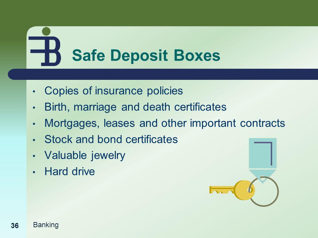 Banking basics ppt video online download safe deposit boxes copies of insurance policies xflitez Images
