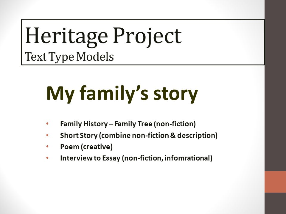hook housekeeping homework monday ppt video online  14 heritage project text type models my family s story