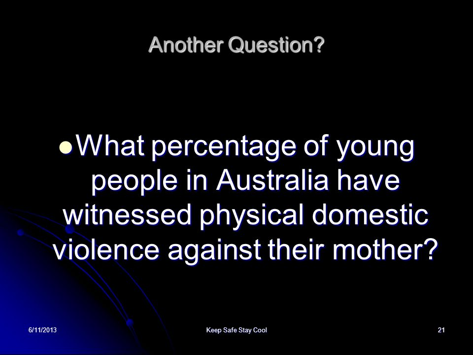 Another Question What percentage of young people in Australia have witnessed physical domestic violence against their mother