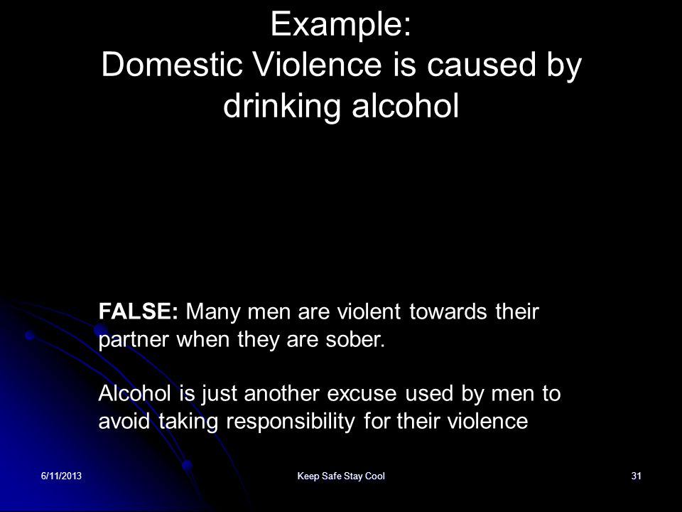 Example: Domestic Violence is caused by drinking alcohol