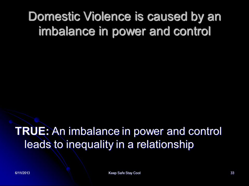 Domestic Violence is caused by an imbalance in power and control