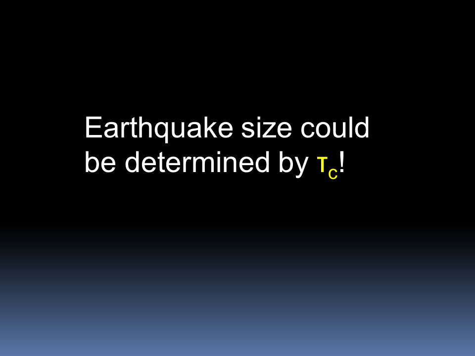 Earthquake size could be determined by τc!