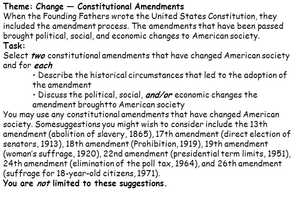 amendment thematic essay The answers given in this answer key for glencoe's new york regents review series—united states history and part ii thematic essay question.
