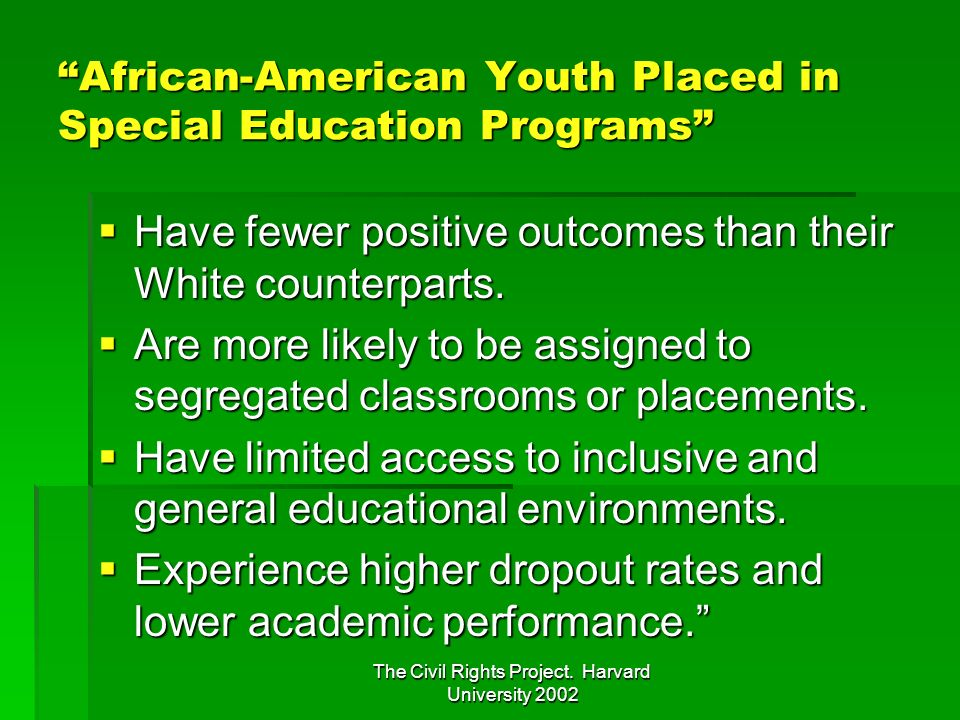 African-American Youth Placed in Special Education Programs