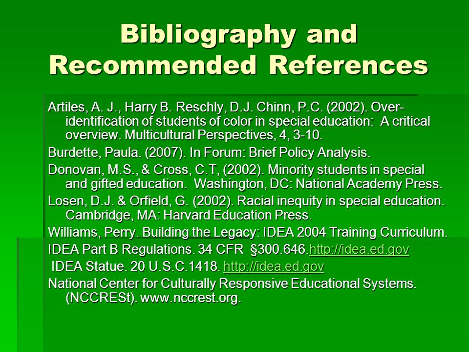 Bibliography and Recommended References