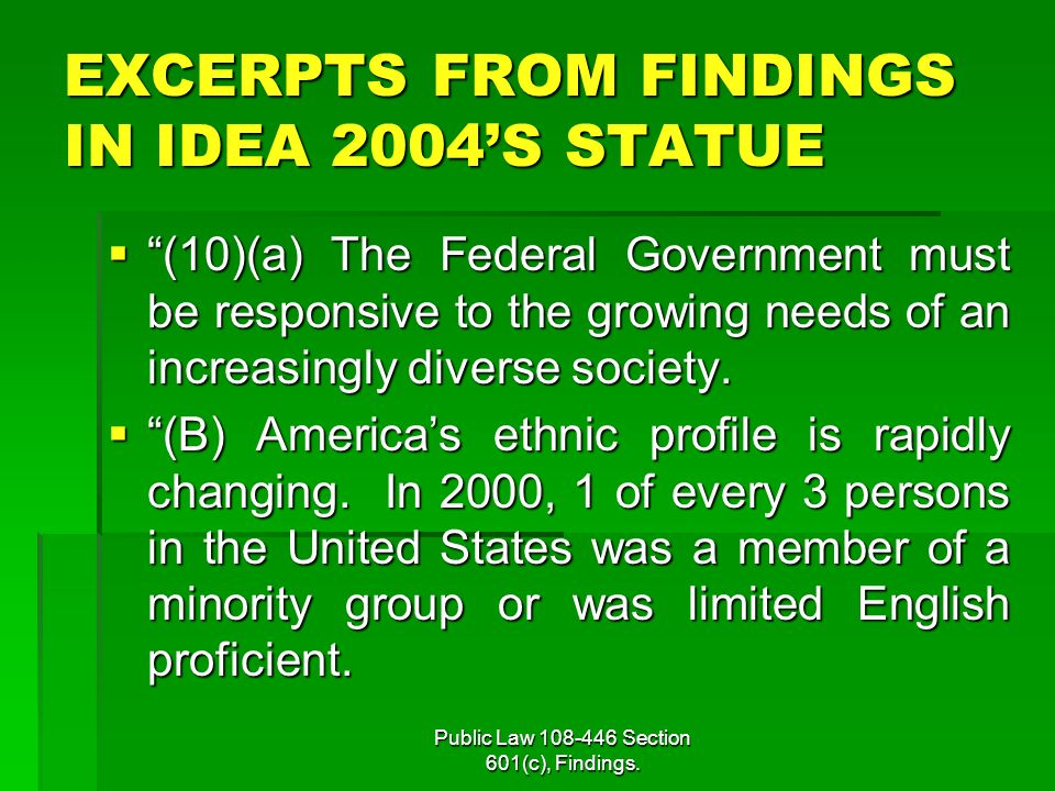 EXCERPTS FROM FINDINGS IN IDEA 2004'S STATUE