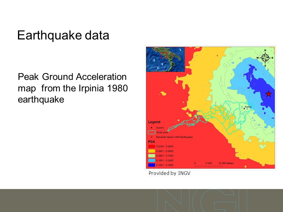 Earthquake data Peak Ground Acceleration map from the Irpinia 1980 earthquake Provided by INGV