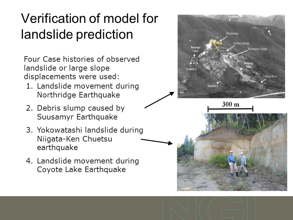 Verification of model for landslide prediction