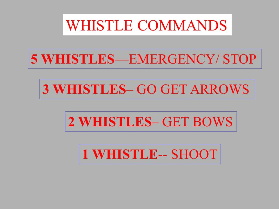 WHISTLE COMMANDS 5 WHISTLES—EMERGENCY/ STOP 3 WHISTLES– GO GET ARROWS