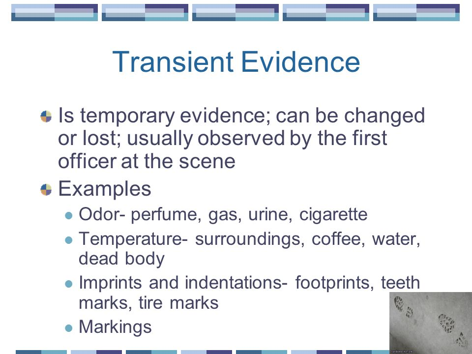 Transient Evidence Is temporary evidence; can be changed or lost; usually observed by the first officer at the scene.