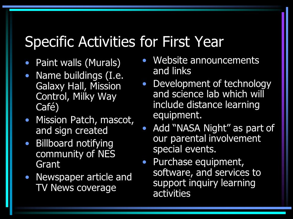 Specific Activities for First Year