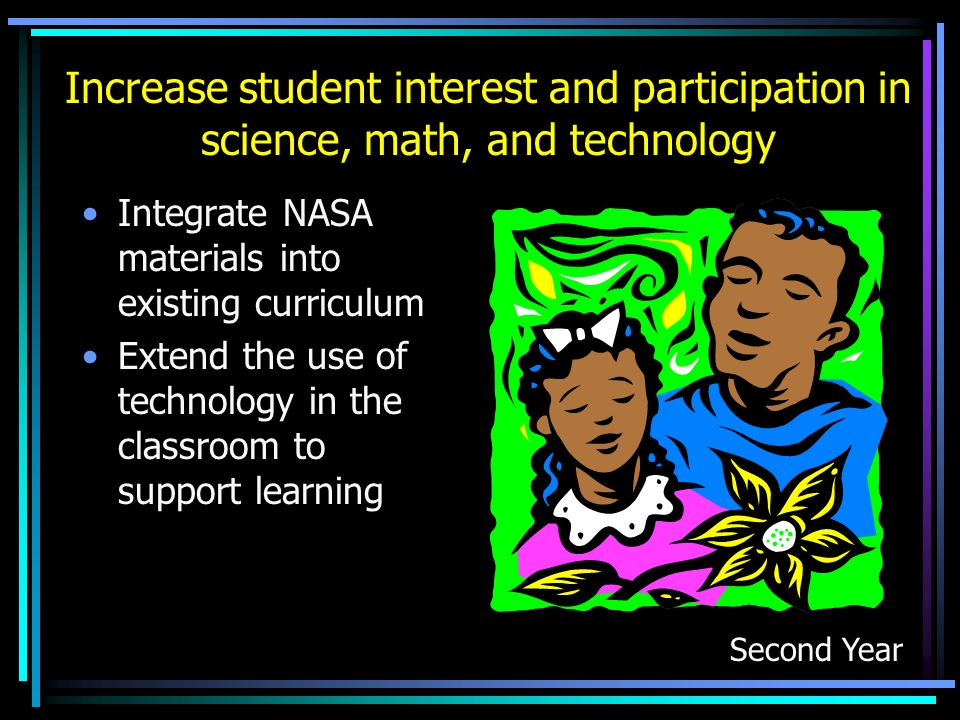 Increase student interest and participation in science, math, and technology