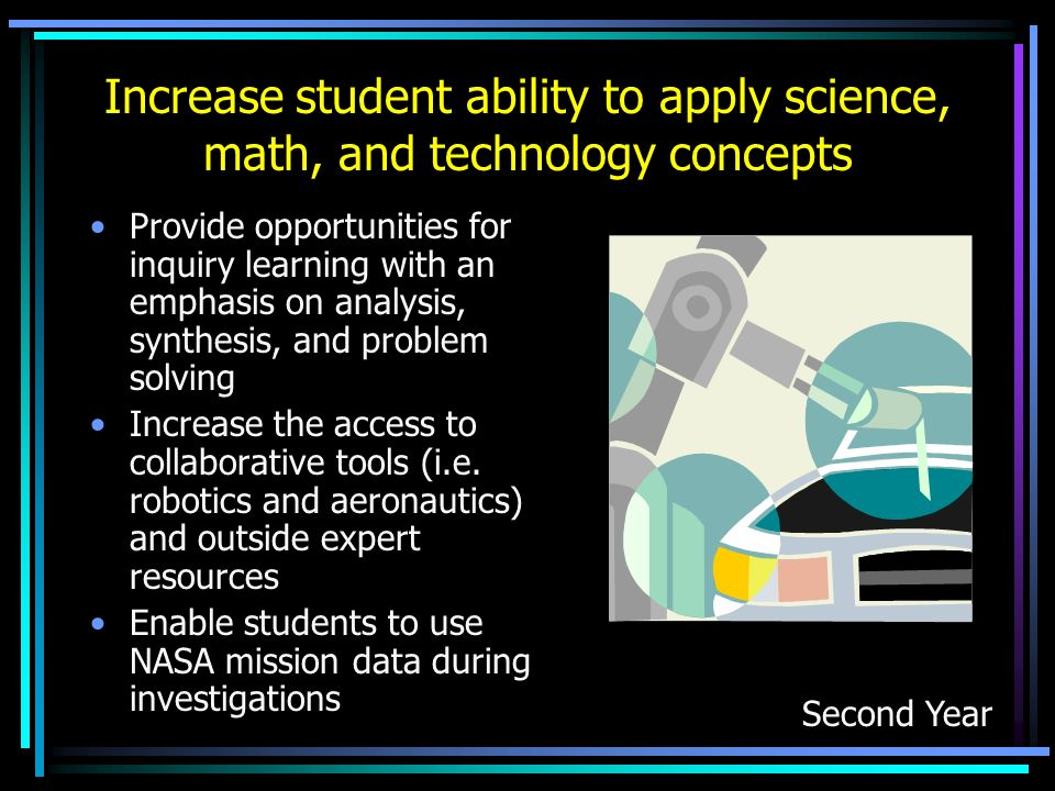 Increase student ability to apply science, math, and technology concepts