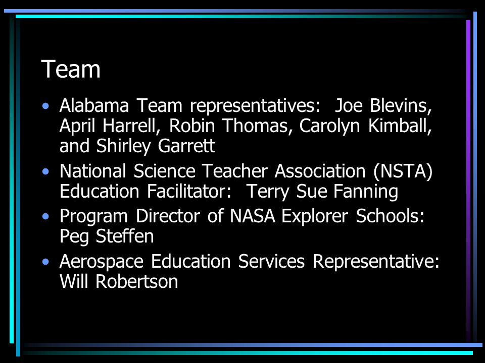 Team Alabama Team representatives: Joe Blevins, April Harrell, Robin Thomas, Carolyn Kimball, and Shirley Garrett.