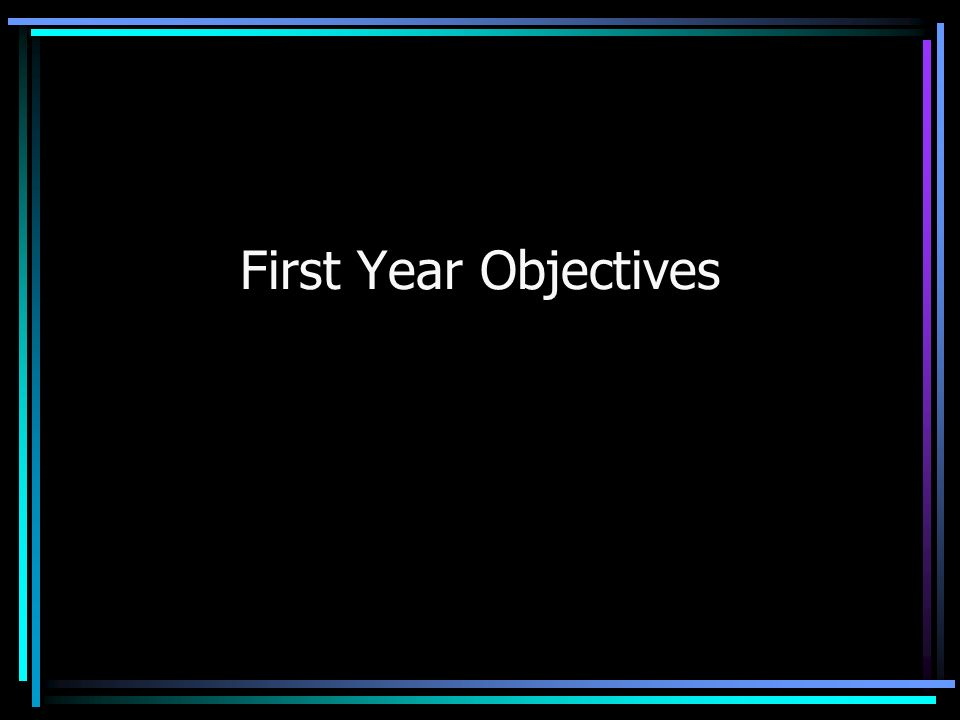 First Year Objectives