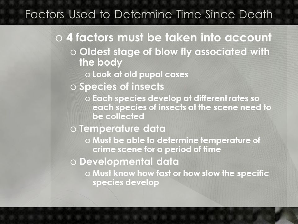 Factors Used to Determine Time Since Death