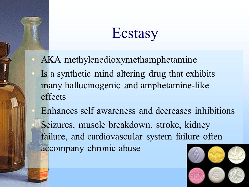 Ecstasy AKA methylenedioxymethamphetamine