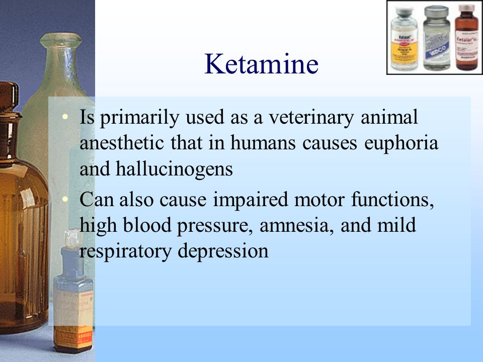 Ketamine Is primarily used as a veterinary animal anesthetic that in humans causes euphoria and hallucinogens.