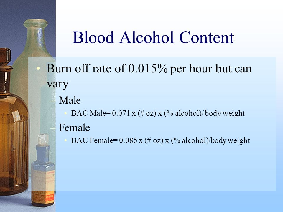 Blood Alcohol Content Burn off rate of 0.015% per hour but can vary